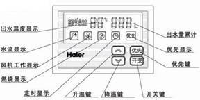 海尔金天将热水器控制面板